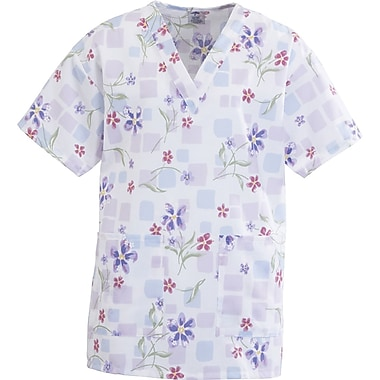 Angelstat® Ladies Two-pockets V-neck Scrub Tops, Tile Blossom, Medium