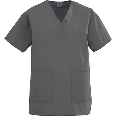 Angelstat® Ladies Two-pockets V-neck Scrub Tops, Charcoal, XS