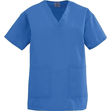 Angelstat® Ladies Two-pockets V-neck Scrub Tops, Sapphire, XS