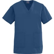Medline AngelStat Women 4XL V-Neck Two-Pockets Scrub Top, Navy Blue (893NNT4XL)