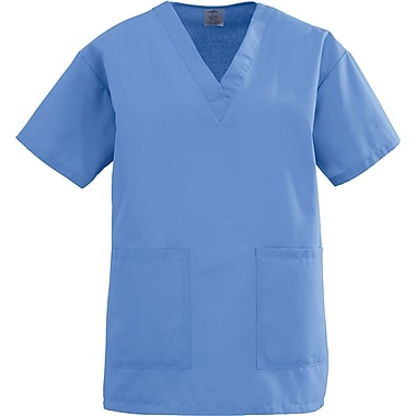 Angelstat® Ladies Two-pockets V-neck Scrub Tops, Ceil Blue, XS