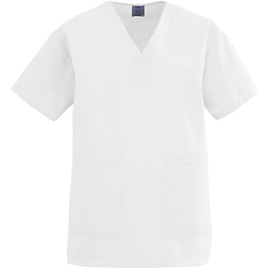 Angelstat® Ladies Two-pockets V-neck Scrub Tops, White, XL