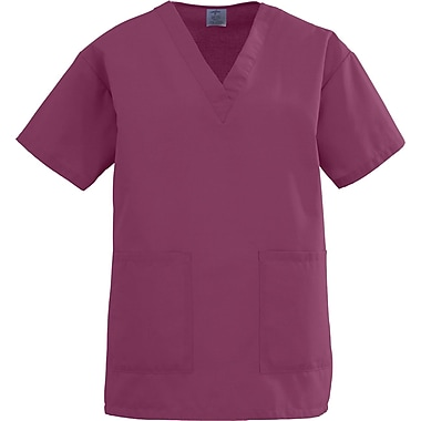 Angelstat® Ladies Two-pockets V-neck Scrub Tops, Raspberry, XL