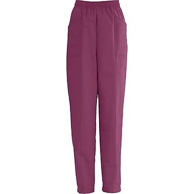 AngelStat® Ladies Elastic Slant-top Pocket Scrub Pants, Raspberry, Large