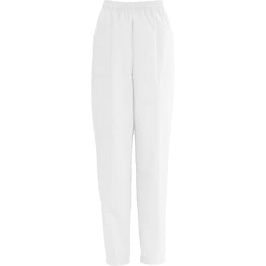 AngelStat® Ladies Elastic Slant-top Pocket Scrub Pants, White, XS