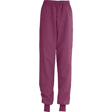 AngelStat® Ladies Elastic Cuff Cargo Scrub Pants, Raspberry, Small, Reg Length