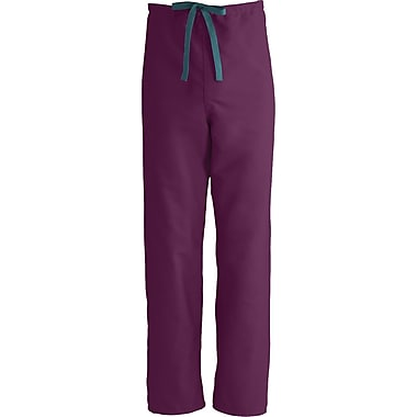 Medline ComfortEase Unisex Large Reversible Scrub Pants, Wine (900JWNL-CM)