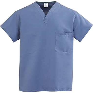 ComfortEase™ Unisex One-pocket V-neck Rev Scrub Tops, Caribbean Blue, MDL-CC, Small