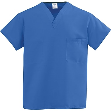 Medline ComfortEase Unisex 4XL V-Neck Two-Pockets Reversible Scrub Top, Royal Blue (910JRL4XL-CM)