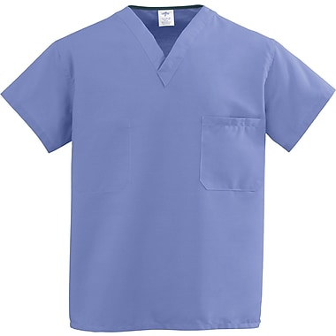 Medline ComfortEase Unisex Small V-Neck Two-Pockets Reversible Scrub Top, Ceil Blue (910JTHS-CM)