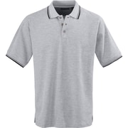 Medline Mens Rib Collar Polo Shirts, Heather Gray/Black, Small