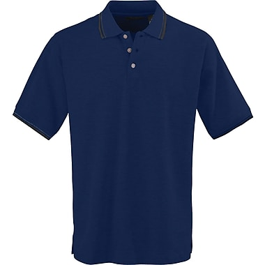 Medline Mens Rib Collar Polo Shirts, Navy/White, Large