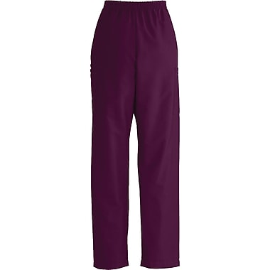ComfortEase™ Unisex Elastic Cargo Scrub Pants, Wine, Small, Long Length