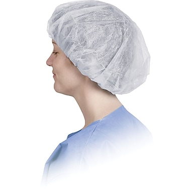 Boundary® Bouffant Caps, White, Medium