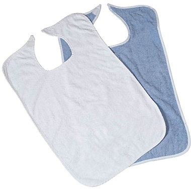 Medline Hook and Loop Closure Adult Bibs, White, 72/Case