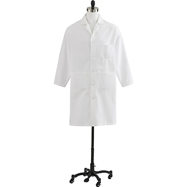 Medline Men's Heavyweight Twill Full Length Lab Coats, White, 38 Size