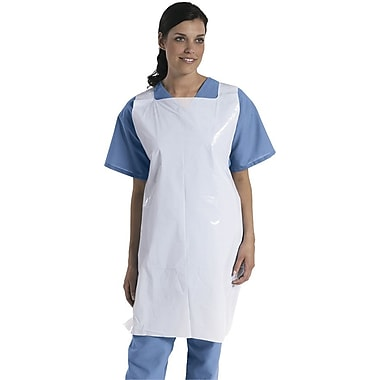 Medline Protective Polyethylene Disposable Aprons, White, 1000/Pack