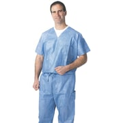 Medline Unisex One-pocket Disposable V-neck Scrub Tops, Blue, Medium