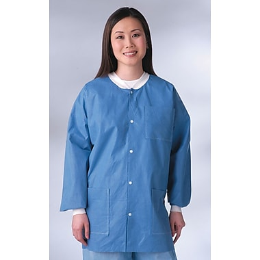 Medline Unisex Knit-Cuff /Collar Multi-layer Material Lab Jackets, Blue, Medium