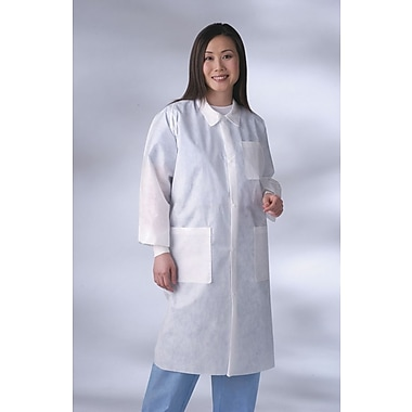 Medline Unisex Large Knit Cuff/Collar Multi-Layer Material Lab Coats, Blue (NONSW400L)