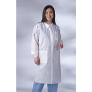 Medline Unisex Small Knit Cuff/Collar Multi-Layer Material Lab Coats, Blue (NONSW400S)