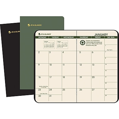 2014 AT-A-GLANCE® 100% Recycled Two Year Monthly Planner, 3-1/2 x 6-1/8