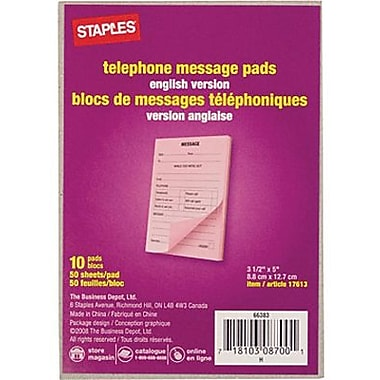Staples® - Blocs de messages téléphoniques, 3-1/2 po x 5 po, 50 feuilles, anglais, paq./10