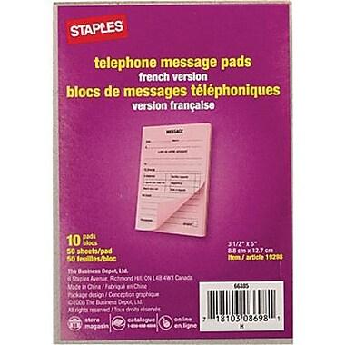 Staples® - Blocs de messages téléphoniques, 3-1/2 po x 5 po, 50 feuilles, français, paq./10