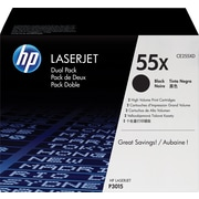 HP 55X (CE255XD) Black High Yield Original LaserJet Toner Cartridges, 2/Pack