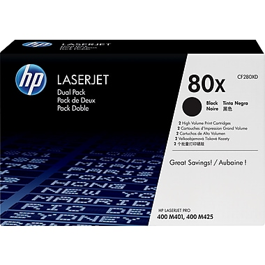 HP 80X (CF280XD) Black High Yield Original LaserJet Toner Cartridges, 2/Pack