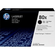 HP 80X Toner Cartridge, High Yield, Black, 2/Pack (CF280XD)
