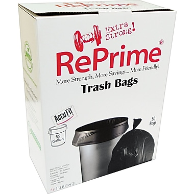 Heritage Reprime Accufit Trash Bags, Black, 55 Gallon, 50 Bags/Box