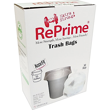Heritage Reprime Accufit Trash Bags, Clear, 55 Gallon, 50 Bags/Box