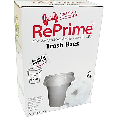Heritage Reprime Accufit Trash Bags, Clear, 32 Gallon, 50 Bags/Box