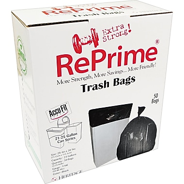 Heritage Reprime Accufit Trash Bags, Black, 23 Gallon, 50 Bags/Box