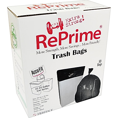 Heritage Reprime Accufit Trash Bags, Clear, 23 Gallon, 50 Bags/Box
