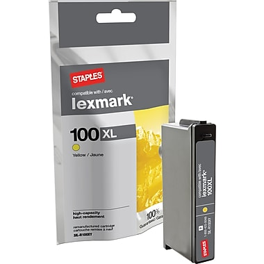 Staples® Remanufactured Yellow Ink Cartridge Compatible with Lexmark 100XLA, High Yield