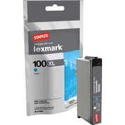 Staples® Remanufactured Cyan Ink Cartridge Compatible with Lexmark 100XLA, High Yield