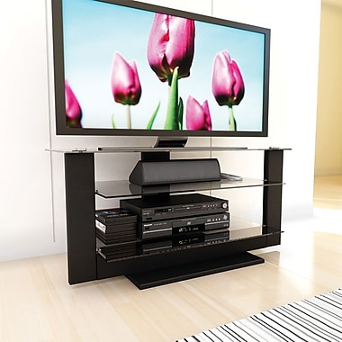Sonax® Atlantic 42in. Medium Density Fiberboard TV Stand with Glass Shelves, Midnight Black
