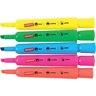 Staples® Tank-Style Highlighters, Assorted, 5/Pack
