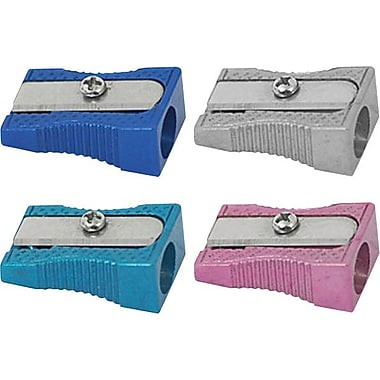 Staples® Single-Hole Aluminum Pencil Sharpener, 4/Pack