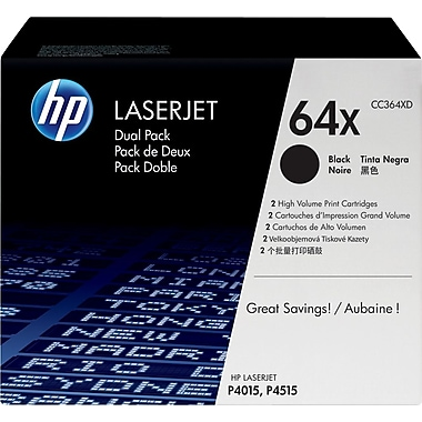 HP 64X (CC364XD) Black High Yield Original LaserJet Toner Cartridges, 2/Pack