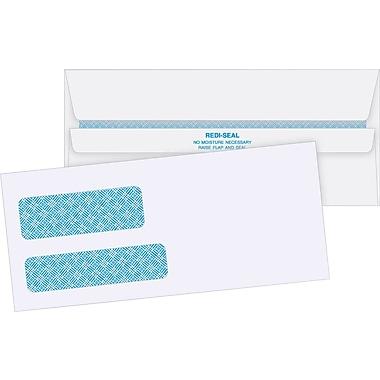 Quality Park – Enveloppes blanches de sécurité à fenêtre double n° 10, 4 1/8 po x 9 1/2 po, bte/500 - avec adhésif Redi-Seal