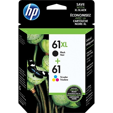 HP 61XL Black High Yield & 61 Tri-Colour Original Ink Cartridges, 2/Pack (CZ138FN)