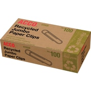 Acco® 100% Recycled Jumbo Paper Clips, Smooth, 1,000/Pack