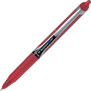 Pilot Hi-Tecpoint Rollerball Pens, Grip, Retractable, V7, Red, 12/Pack