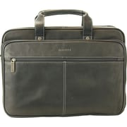 Heritage Leather Double Gusset Top Zip Computer Case / Portfolio