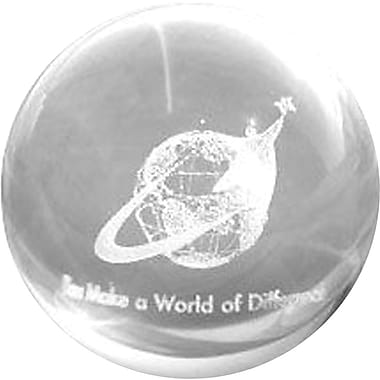 Baudville Glass Sphere Paperweight with 3D Globe Graphic, in.You Make a World of Differencein.