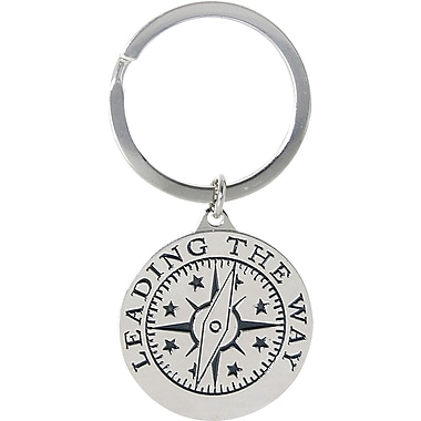 Baudville Nickel Finish key chain with Compass Graphic, in.Leading by Examplein.