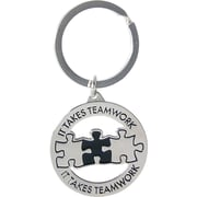 "Baudville® Nickel Finish key chain with Puzzle Piece Graphic, ""It Takes Teamwork"""